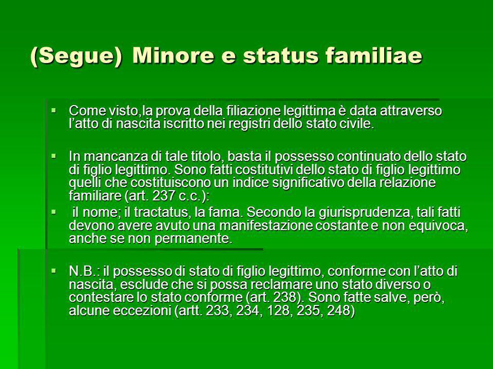 (Segue) Minore e status familiae Come visto,la prova della filiazione legittima è data attraverso latto di nascita iscritto nei registri dello stato c