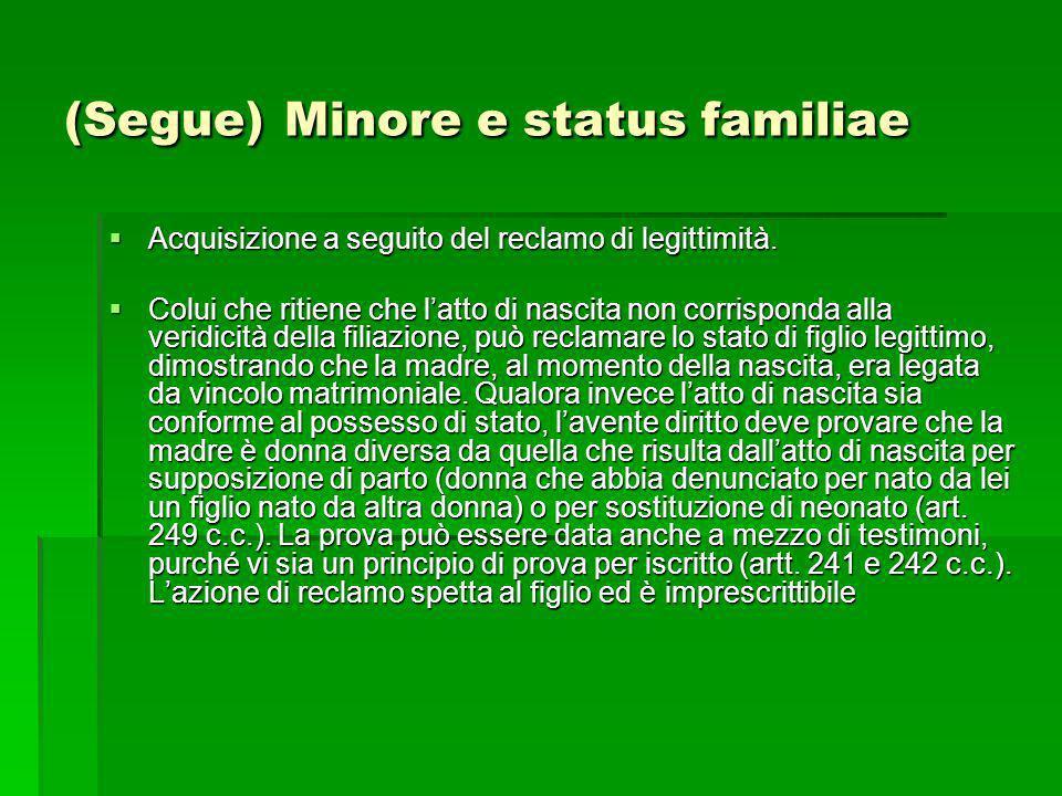 (Segue) Minore e status familiae Acquisizione a seguito del reclamo di legittimità. Acquisizione a seguito del reclamo di legittimità. Colui che ritie