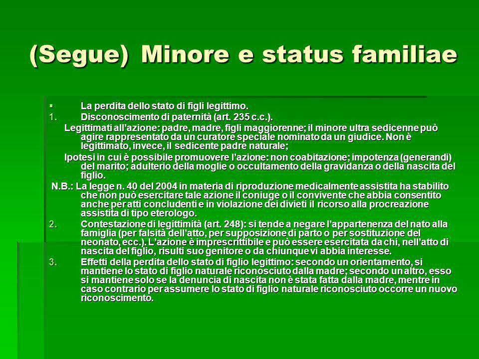 (Segue) Minore e status familiae La perdita dello stato di figli legittimo. La perdita dello stato di figli legittimo. 1.Disconoscimento di paternità