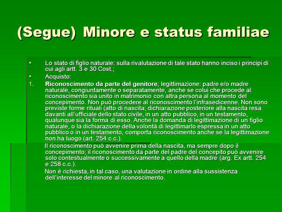 (Segue) Minore e status familiae Lo stato di figlio naturale: sulla rivalutazione di tale stato hanno inciso i principi di cui agli artt. 3 e 30 Cost.