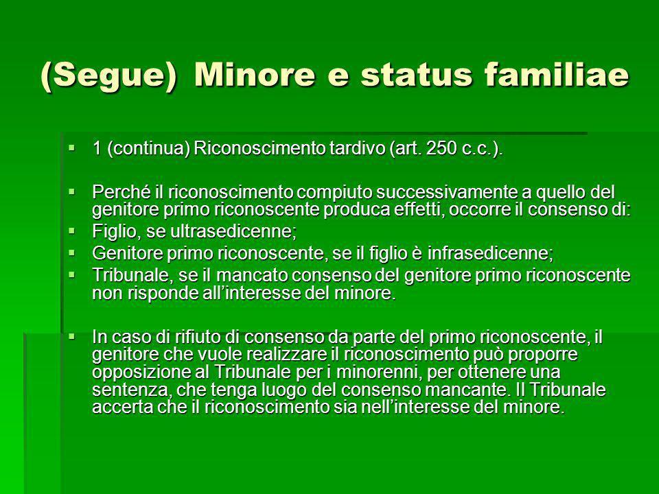 (Segue) Minore e status familiae 1 (continua) Riconoscimento tardivo (art. 250 c.c.). 1 (continua) Riconoscimento tardivo (art. 250 c.c.). Perché il r