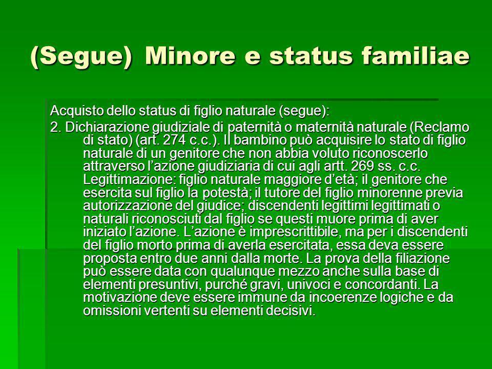 (Segue) Minore e status familiae Acquisto dello status di figlio naturale (segue): 2. Dichiarazione giudiziale di paternità o maternità naturale (Recl