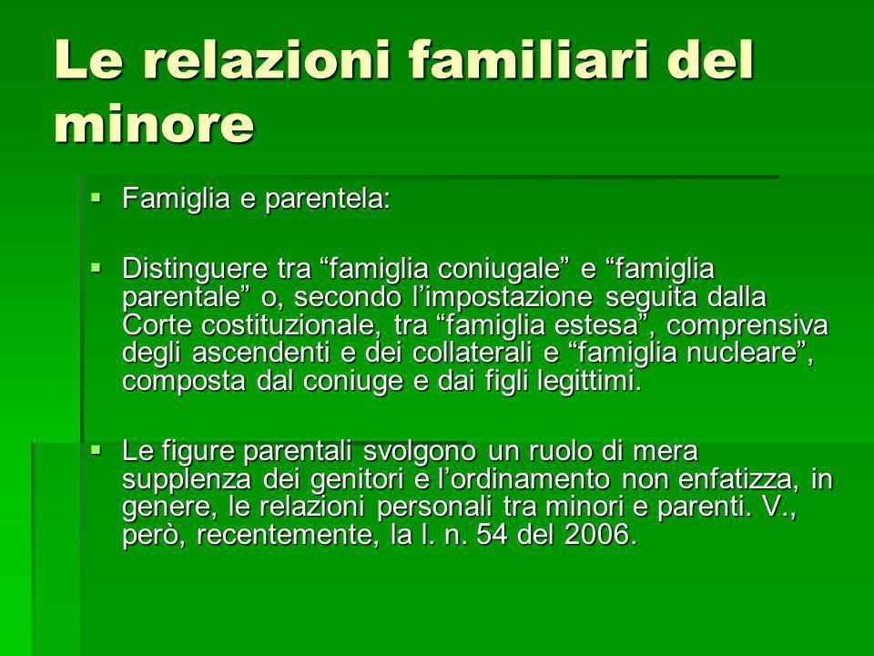 Le relazioni familiari del minore Famiglia e parentela: Famiglia e parentela: Distinguere tra famiglia coniugale e famiglia parentale o, secondo limpo