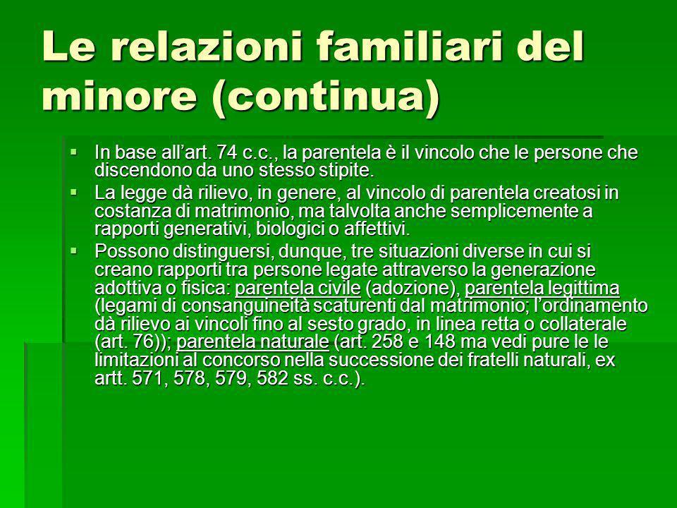 Le relazioni familiari del minore (continua) In base allart. 74 c.c., la parentela è il vincolo che le persone che discendono da uno stesso stipite. I
