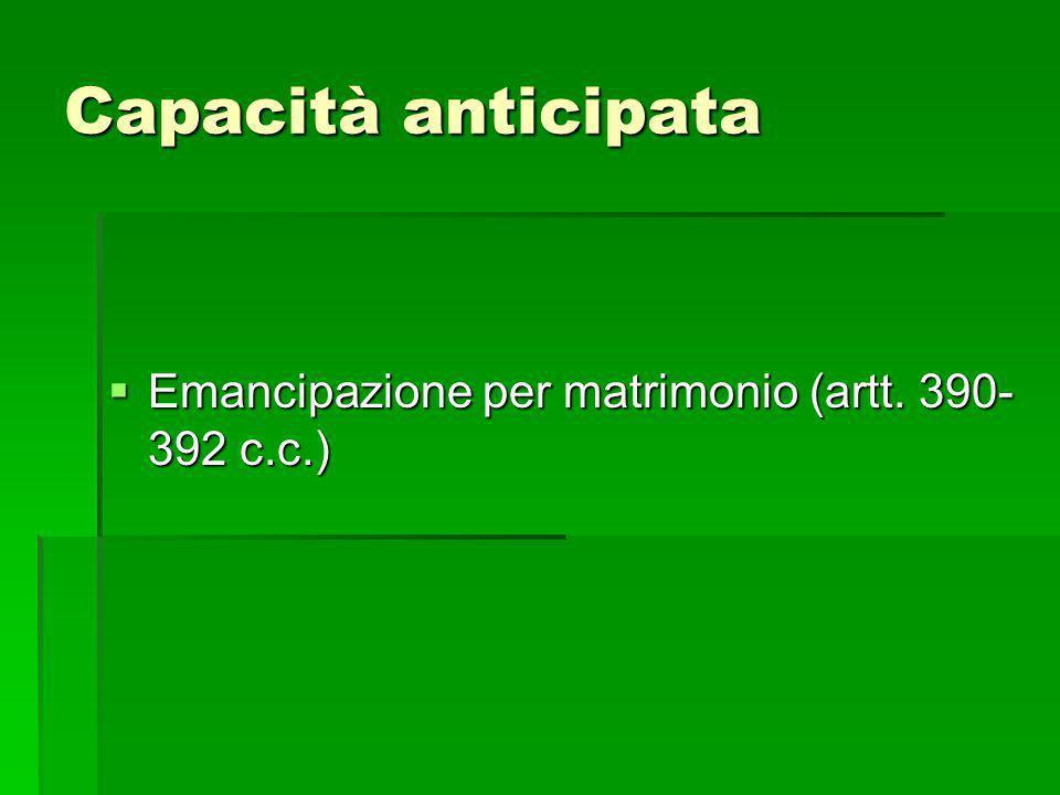 Capacità anticipata Emancipazione per matrimonio (artt. 390- 392 c.c.) Emancipazione per matrimonio (artt. 390- 392 c.c.)