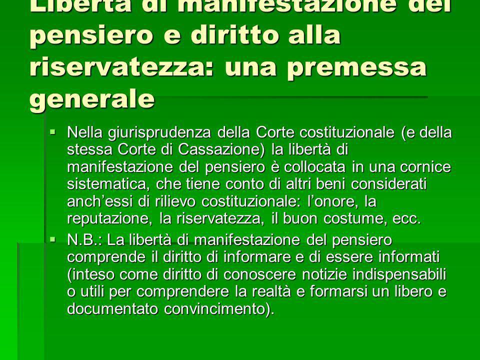 Libertà di manifestazione del pensiero e diritto alla riservatezza: una premessa generale Nella giurisprudenza della Corte costituzionale (e della ste