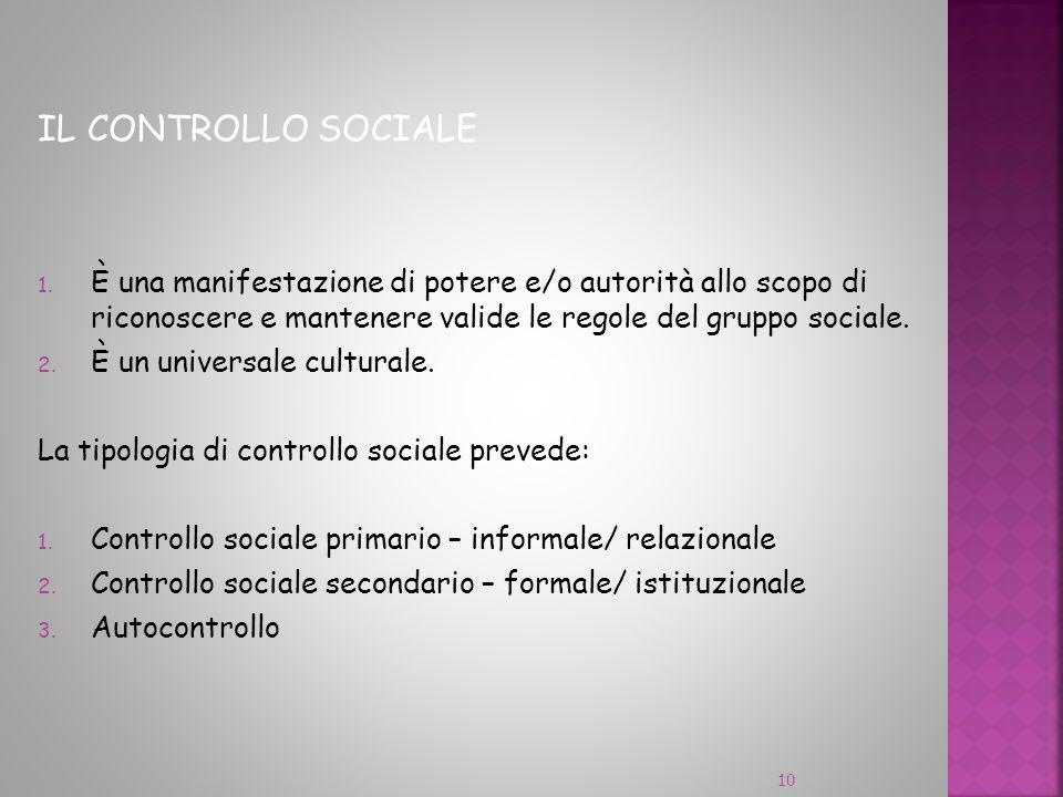 IL CONTROLLO SOCIALE 1. È una manifestazione di potere e/o autorità allo scopo di riconoscere e mantenere valide le regole del gruppo sociale. 2. È un