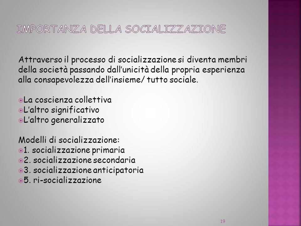 Attraverso il processo di socializzazione si diventa membri della società passando dallunicità della propria esperienza alla consapevolezza dellinsiem