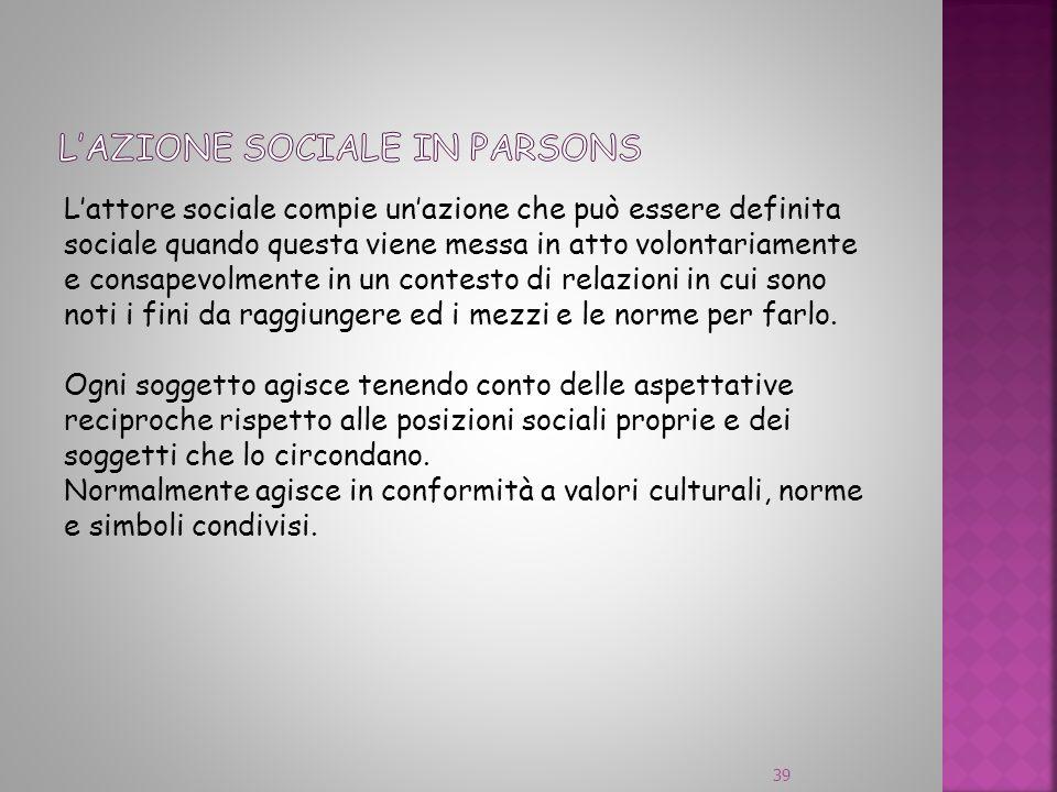 Lattore sociale compie unazione che può essere definita sociale quando questa viene messa in atto volontariamente e consapevolmente in un contesto di