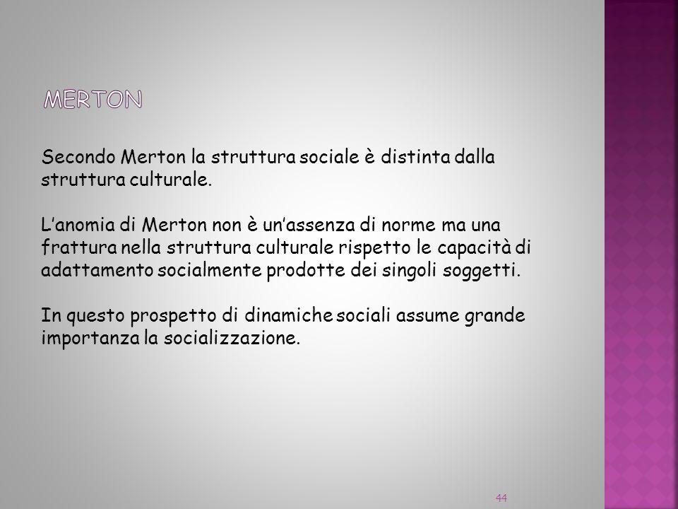 Secondo Merton la struttura sociale è distinta dalla struttura culturale. Lanomia di Merton non è unassenza di norme ma una frattura nella struttura c