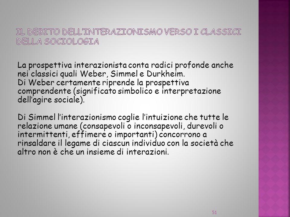 La prospettiva interazionista conta radici profonde anche nei classici quali Weber, Simmel e Durkheim. Di Weber certamente riprende la prospettiva com