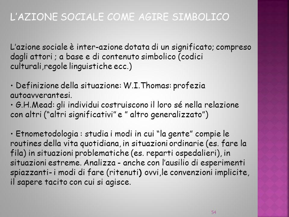 54 LAZIONE SOCIALE COME AGIRE SIMBOLICO Lazione sociale è inter-azione dotata di un significato; compreso dagli attori ; a base e di contenuto simboli