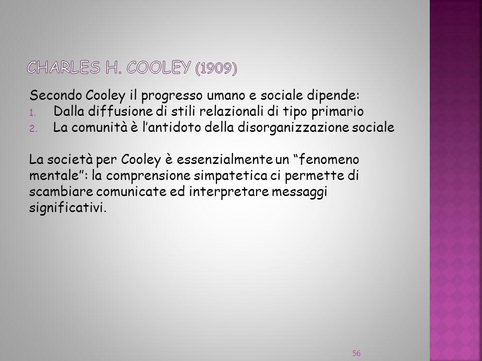 Secondo Cooley il progresso umano e sociale dipende: 1. Dalla diffusione di stili relazionali di tipo primario 2. La comunità è lantidoto della disorg
