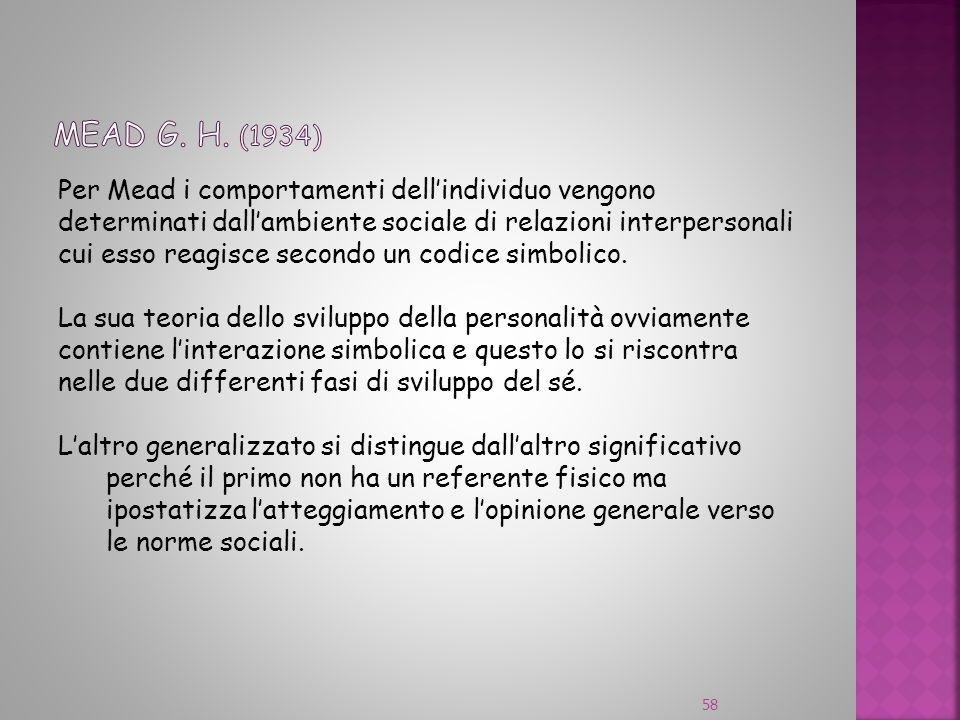 Per Mead i comportamenti dellindividuo vengono determinati dallambiente sociale di relazioni interpersonali cui esso reagisce secondo un codice simbol