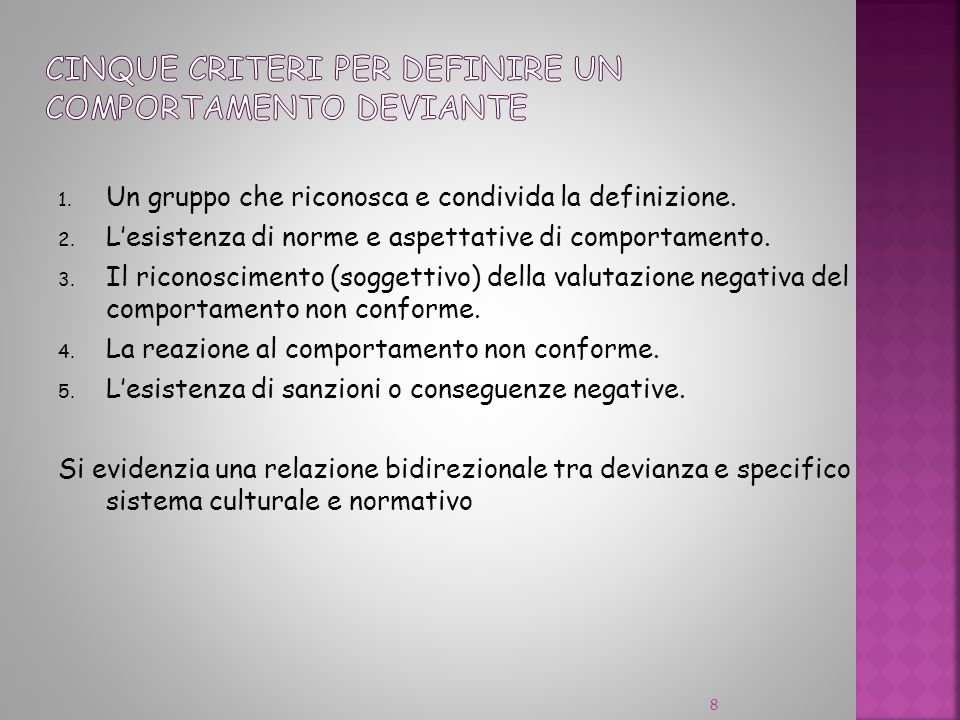 1. Un gruppo che riconosca e condivida la definizione. 2. Lesistenza di norme e aspettative di comportamento. 3. Il riconoscimento (soggettivo) della