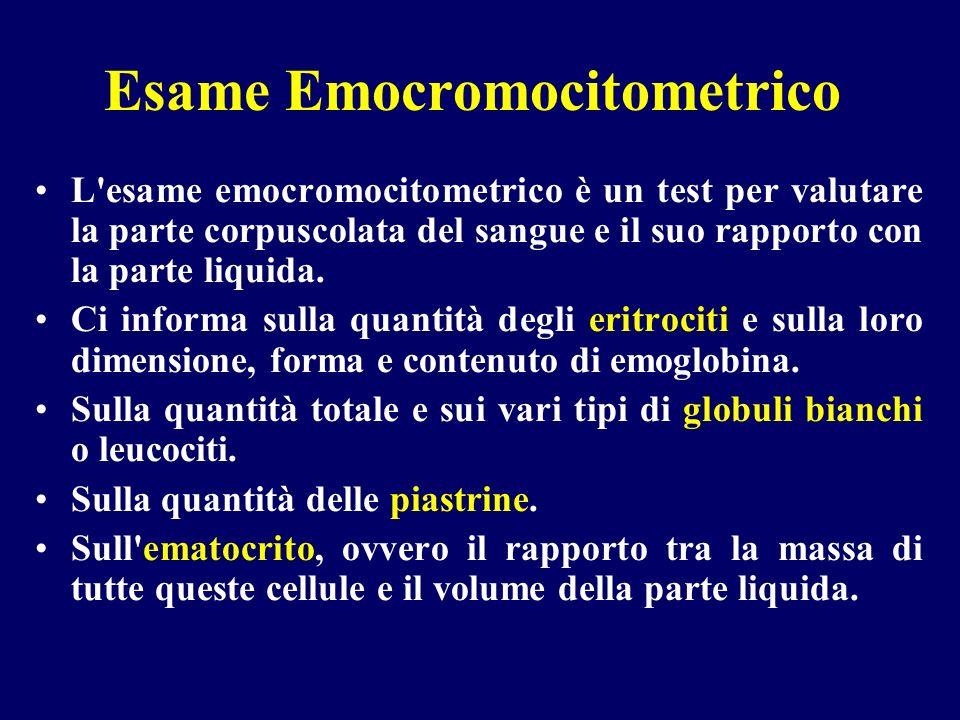 Esame Emocromocitometrico L'esame emocromocitometrico è un test per valutare la parte corpuscolata del sangue e il suo rapporto con la parte liquida.