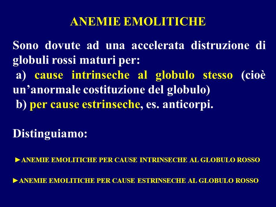 ANEMIE EMOLITICHE Sono dovute ad una accelerata distruzione di globuli rossi maturi per: a) cause intrinseche al globulo stesso (cioè unanormale costi