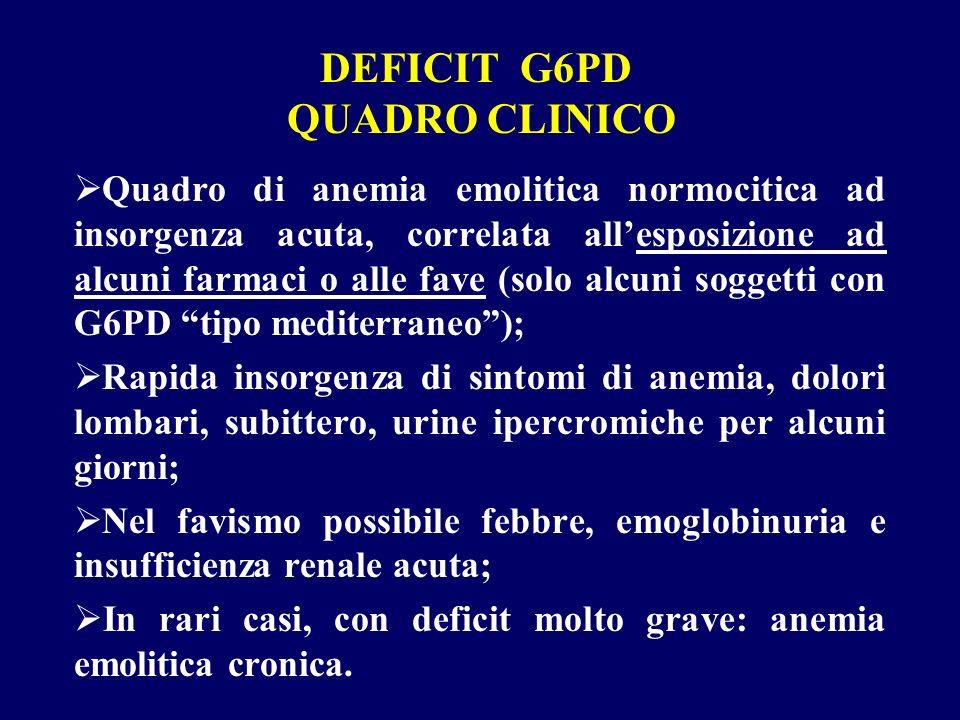 DEFICIT G6PD QUADRO CLINICO Quadro di anemia emolitica normocitica ad insorgenza acuta, correlata allesposizione ad alcuni farmaci o alle fave (solo a