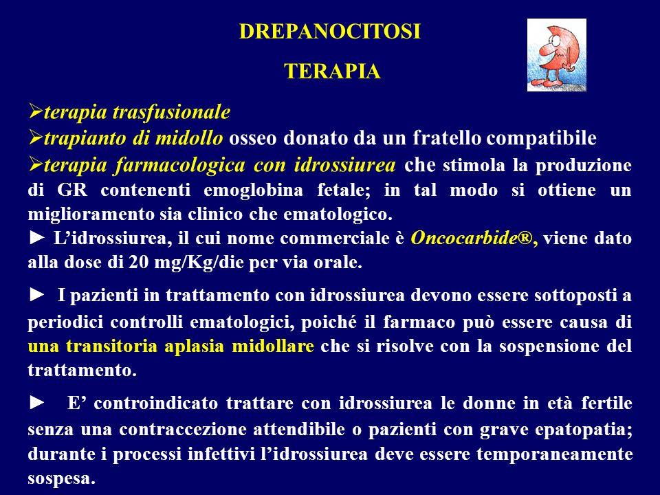 terapia trasfusionale trapianto di midollo osseo donato da un fratello compatibile terapia farmacologica con idrossiurea che stimola la produzione di