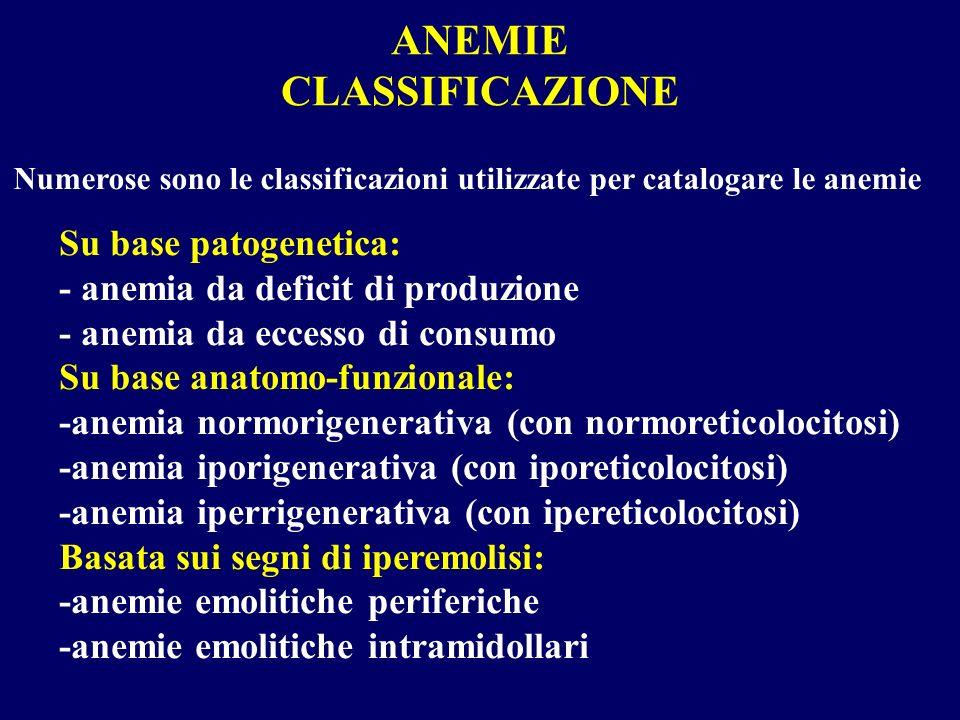 Numerose sono le classificazioni utilizzate per catalogare le anemie Su base patogenetica: - anemia da deficit di produzione - anemia da eccesso di co