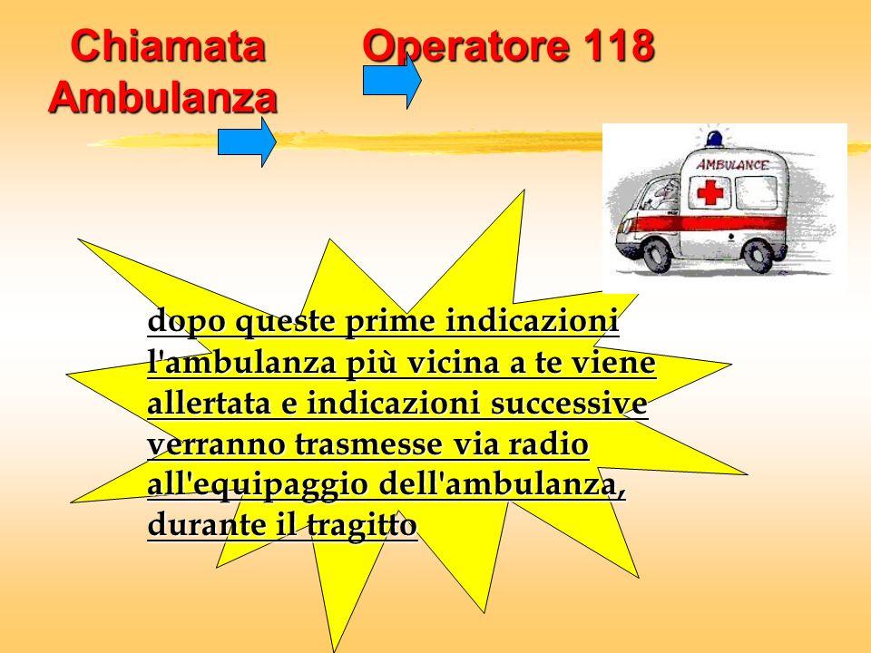 Chiamata Operatore 118 Ambulanza dopo queste prime indicazioni l'ambulanza più vicina a te viene allertata e indicazioni successive verranno trasmesse