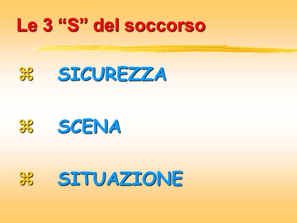 Le 3 S del soccorso SICUREZZA SICUREZZA SCENA SCENA SITUAZIONE SITUAZIONE