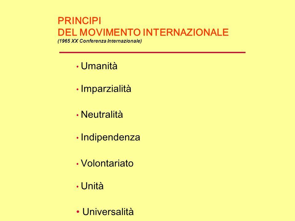 PRINCIPI DEL MOVIMENTO INTERNAZIONALE (1965 XX Conferenza Internazionale) Umanità Imparzialità Neutralità Indipendenza Volontariato Unità Universalità
