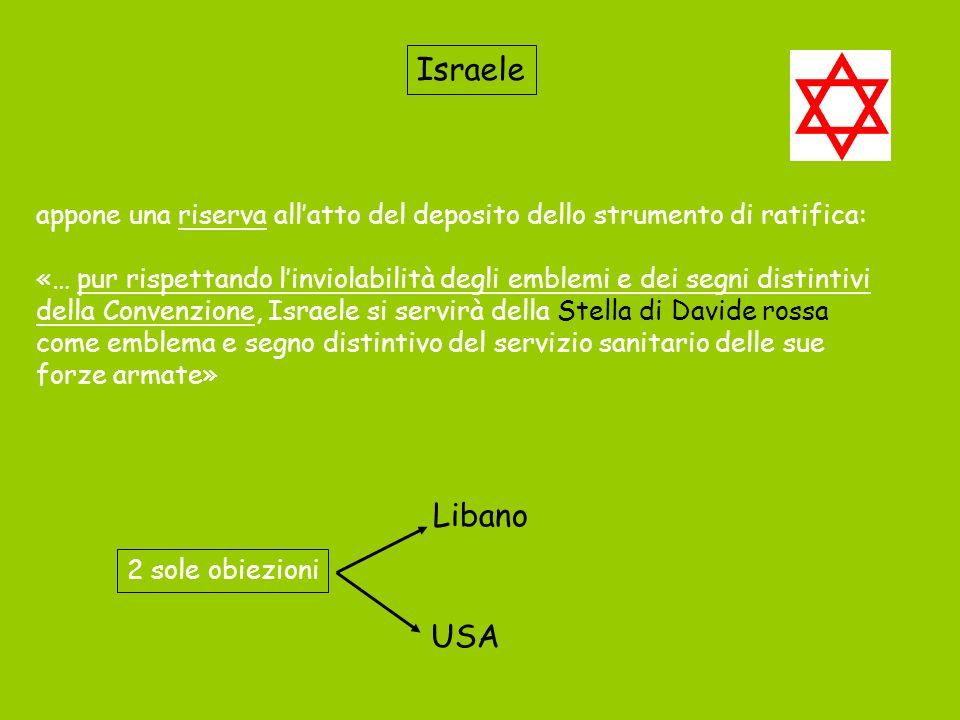 Israele appone una riserva allatto del deposito dello strumento di ratifica: «… pur rispettando linviolabilità degli emblemi e dei segni distintivi de