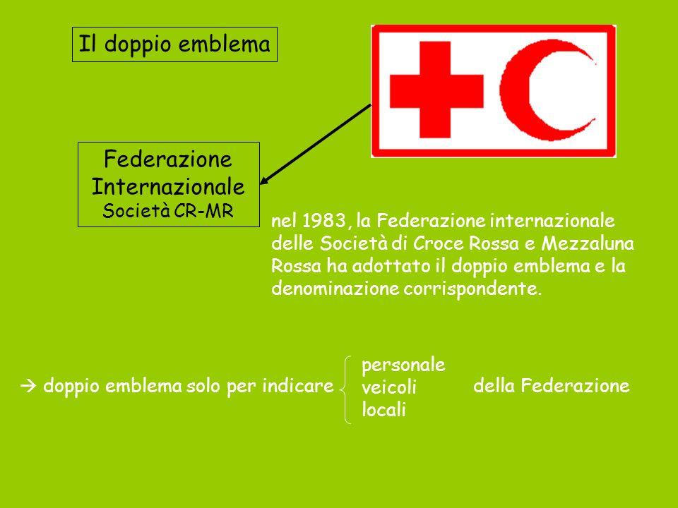 Il doppio emblema Federazione Internazionale Società CR-MR nel 1983, la Federazione internazionale delle Società di Croce Rossa e Mezzaluna Rossa ha a