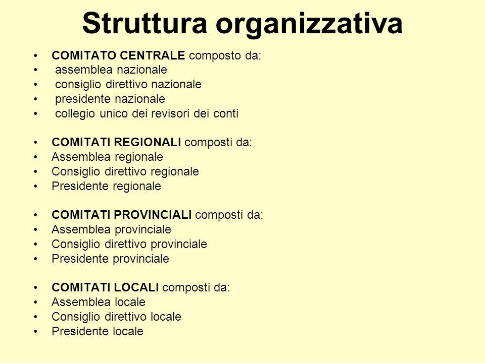 Struttura organizzativa COMITATO CENTRALE composto da: assemblea nazionale consiglio direttivo nazionale presidente nazionale collegio unico dei revis