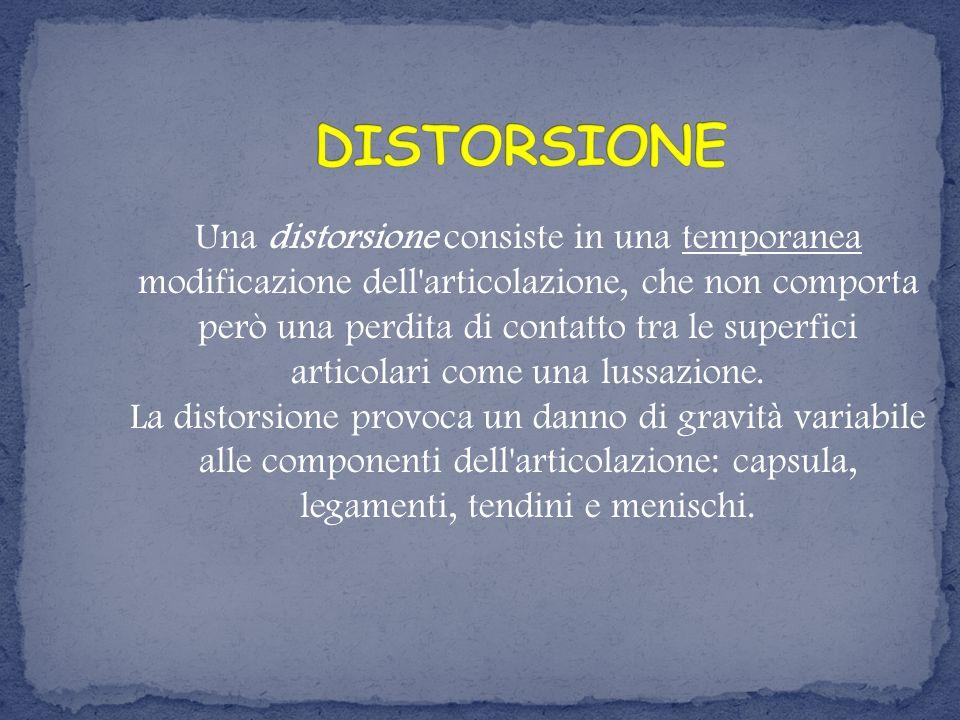 Una distorsione consiste in una temporanea modificazione dell'articolazione, che non comporta però una perdita di contatto tra le superfici articolari