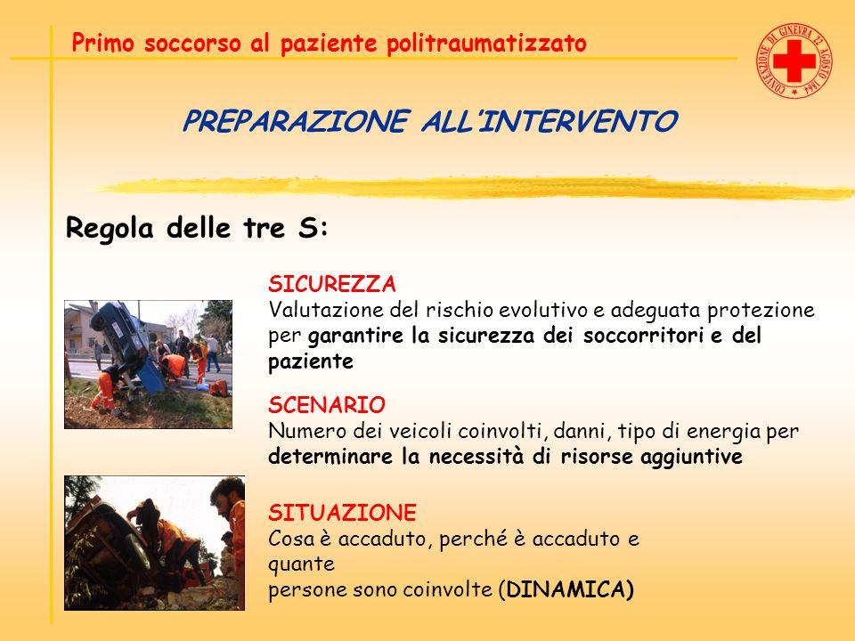 PREPARAZIONE ALLINTERVENTO Regola delle tre S: Primo soccorso al paziente politraumatizzato SICUREZZA Valutazione del rischio evolutivo e adeguata pro