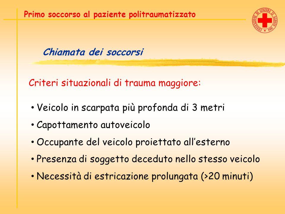 Chiamata dei soccorsi Criteri situazionali di trauma maggiore: Primo soccorso al paziente politraumatizzato Veicolo in scarpata più profonda di 3 metr