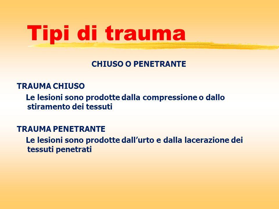 Tipi di trauma CHIUSO O PENETRANTE TRAUMA CHIUSO Le lesioni sono prodotte dalla compressione o dallo stiramento dei tessuti TRAUMA PENETRANTE Le lesio