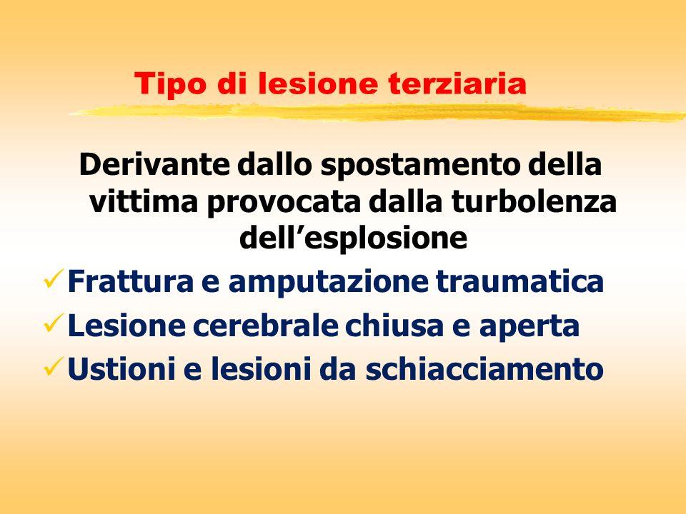 Tipo di lesione terziaria Derivante dallo spostamento della vittima provocata dalla turbolenza dellesplosione Frattura e amputazione traumatica Lesion