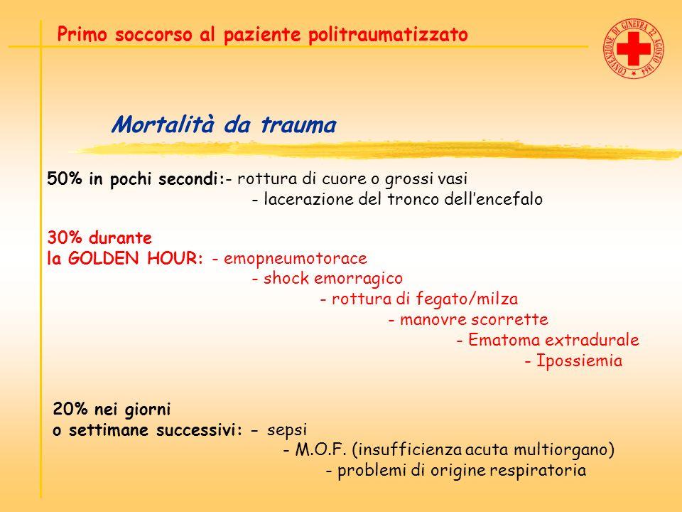 Mortalità da trauma Primo soccorso al paziente politraumatizzato 20% nei giorni o settimane successivi: - sepsi - M.O.F. (insufficienza acuta multiorg
