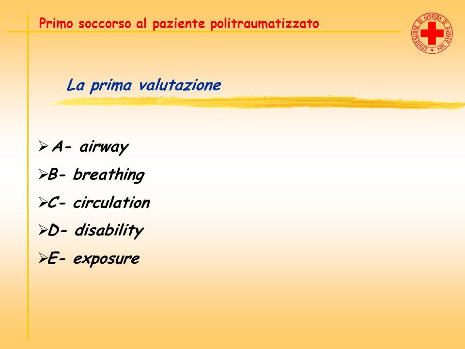La prima valutazione A- airway B- breathing C- circulation D- disability E- exposure Primo soccorso al paziente politraumatizzato