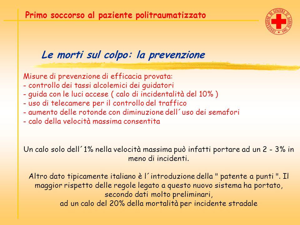 Le morti sul colpo: la prevenzione Primo soccorso al paziente politraumatizzato Misure di prevenzione di efficacia provata: - controllo dei tassi alco