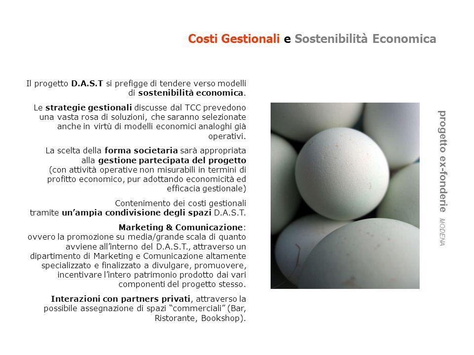 Costi Gestionali e Sostenibilità Economica progetto ex-fonderie MODENA Il progetto D.A.S.T si prefigge di tendere verso modelli di sostenibilità econo