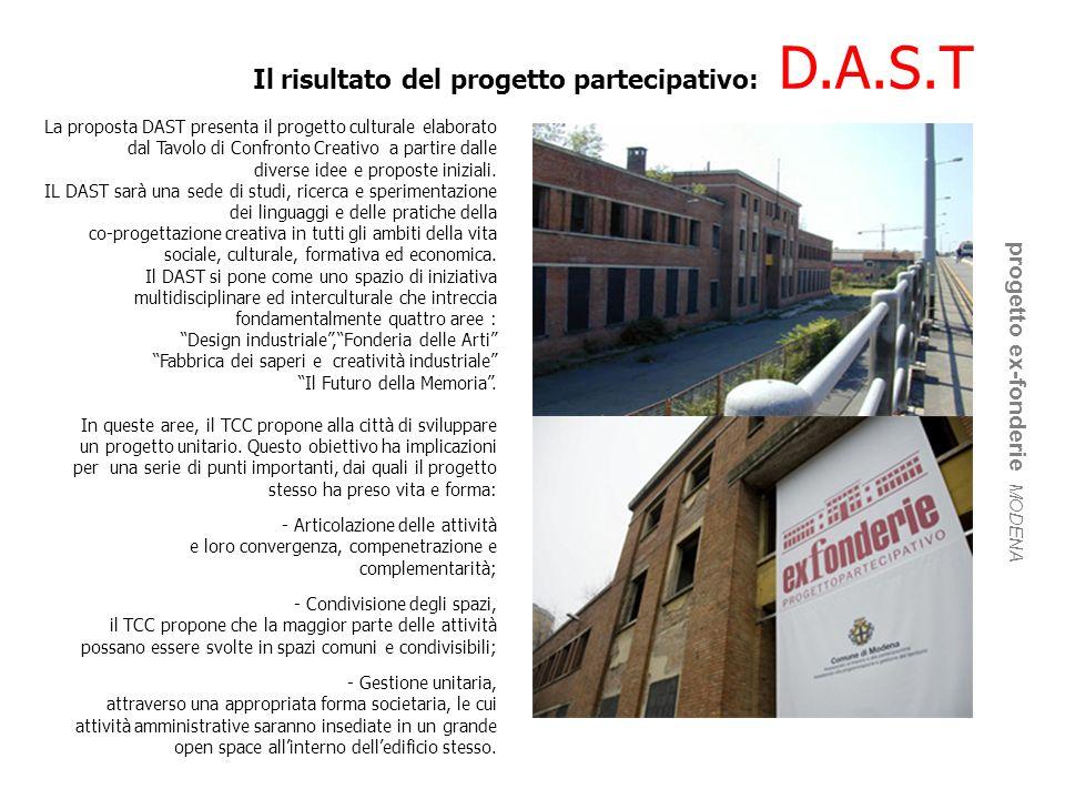 Il risultato del progetto partecipativo: D.A.S.T progetto ex-fonderie MODENA La proposta DAST presenta il progetto culturale elaborato dal Tavolo di C