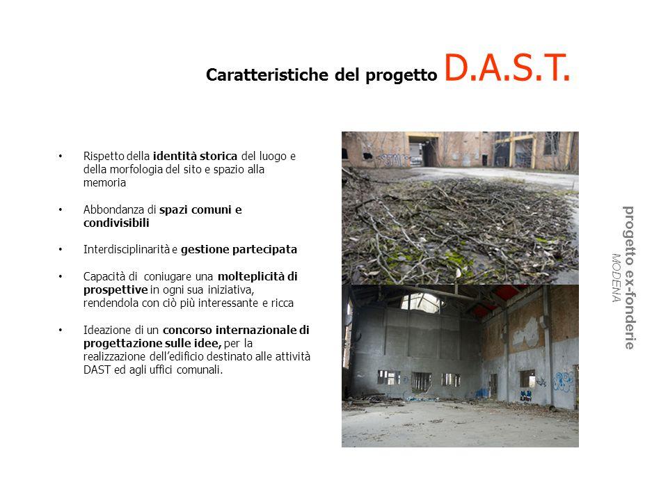 Caratteristiche del progetto D.A.S.T. Rispetto della identità storica del luogo e della morfologia del sito e spazio alla memoria Abbondanza di spazi
