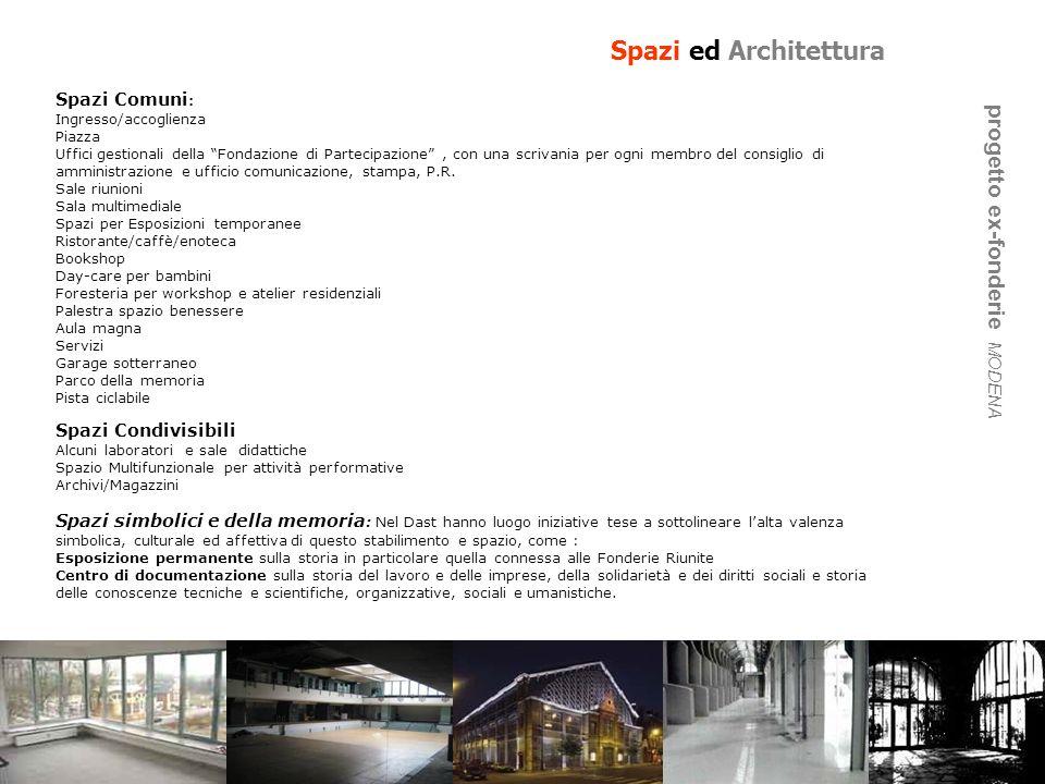 Spazi ed Architettura Spazi Comuni : Ingresso/accoglienza Piazza Uffici gestionali della Fondazione di Partecipazione, con una scrivania per ogni memb