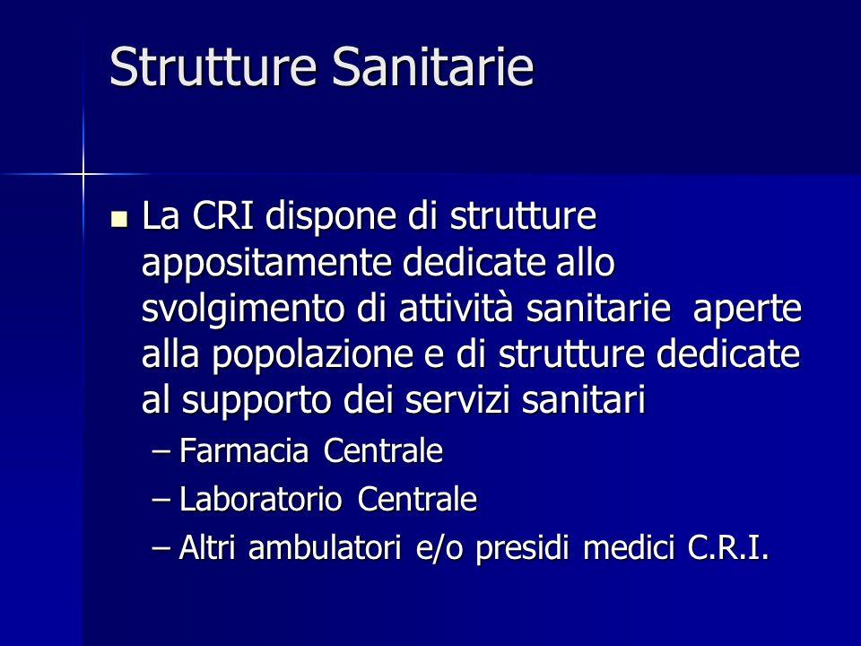 Strutture Sanitarie La CRI dispone di strutture appositamente dedicate allo svolgimento di attività sanitarie aperte alla popolazione e di strutture d