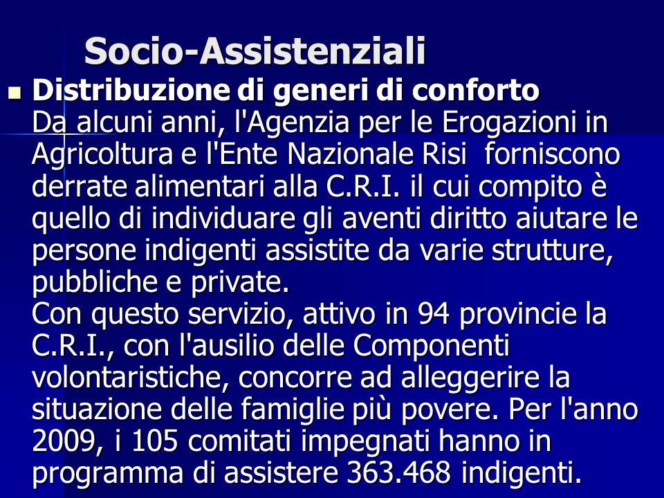 Socio-Assistenziali Distribuzione di generi di conforto Da alcuni anni, l'Agenzia per le Erogazioni in Agricoltura e l'Ente Nazionale Risi forniscono