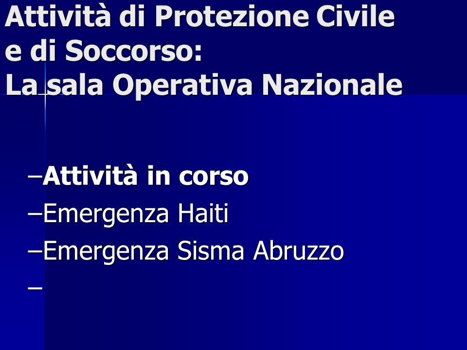 Attività di Protezione Civile e di Soccorso: La sala Operativa Nazionale –Attività in corso –Emergenza Haiti –Emergenza Sisma Abruzzo –
