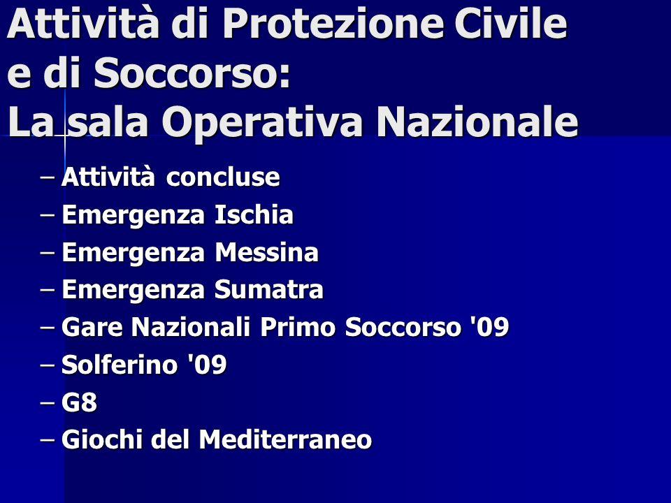Attività di Protezione Civile e di Soccorso: La sala Operativa Nazionale –Attività concluse –Emergenza Ischia –Emergenza Messina –Emergenza Sumatra –G