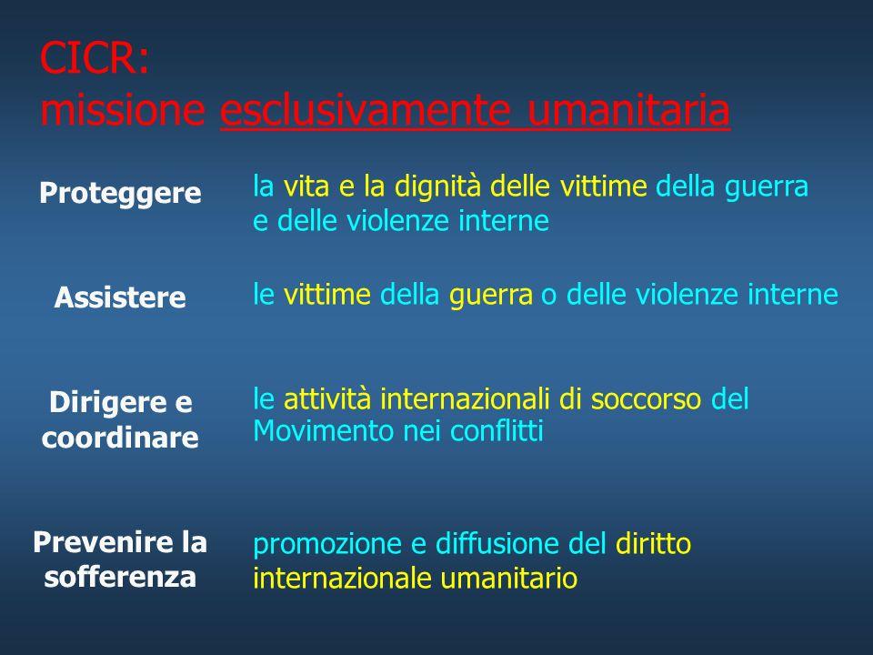 Comitato Internazionale della Croce Rossa (CICR) Associazione privata regolata dal codice civile svizzero imparzialeindipendenteneutrale