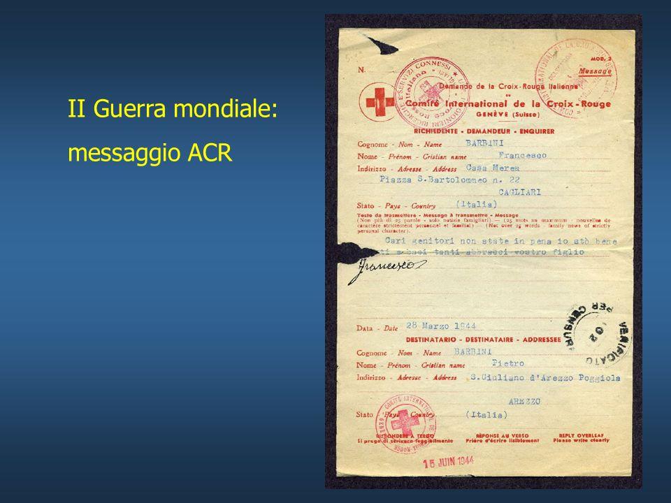 AGENZIA CENTRALE RICERCHE AGENZIA CENTRALE RICERCHE -raccogliere informazioni relative a: - prigionieri - internati - profughi - informare le famiglie