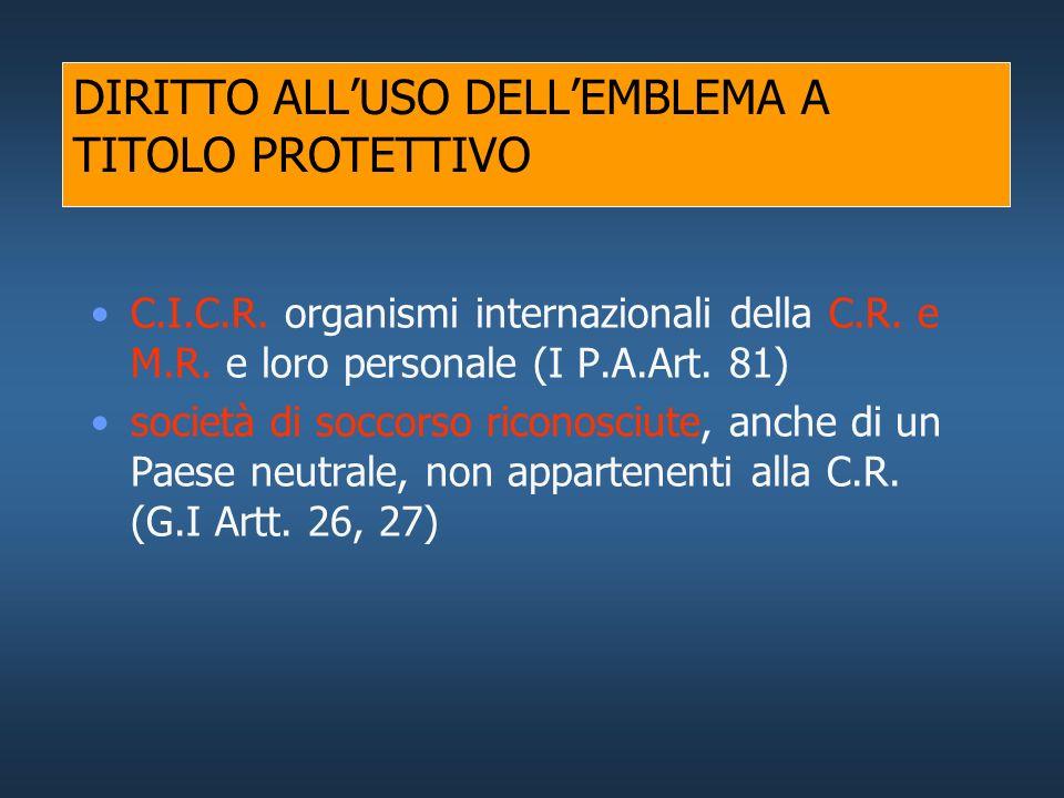 DIRITTO ALLUSO DELLEMBLEMA A TITOLO PROTETTIVO Stabilimenti fissi e formazioni sanitarie mobili delle FF.AA. e delle Società di soccorso (G.I Artt. 19