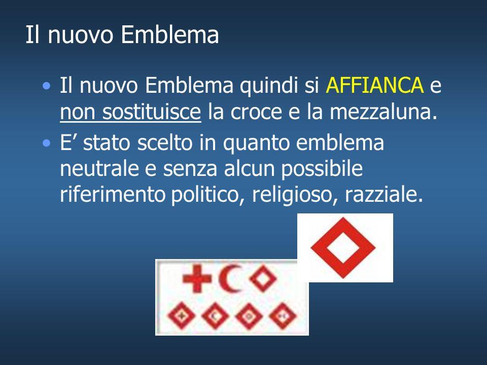 Il nuovo Emblema Perché un emblema aggiuntivo? Per permettere lingresso nella Federazione di Società Nazionali che non hanno ratificato gli emblemi pr